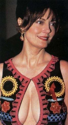 Susan Sarandon in Embroidered Top