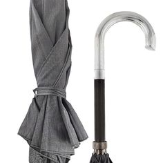 Lowest Price on Sterling Silver Tourist Handle Gray and Black Woven Umbrella Cane.