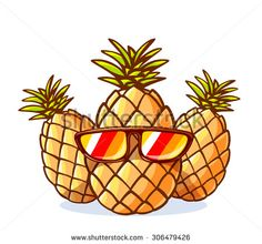 Vector illustration of colorful yellow hipster pineapples with sunglasses on white background. Hand draw line art design for web, site, advertising, banner, poster, board and print. - stock vector