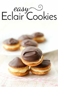Bring these no bake Easy Eclair Cookies to your next summer party. Creamy filling and rich chocolate topping makes them the perfect bite-sized treat!