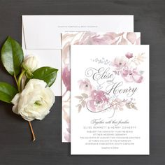 Romantic Blooms Wedding Invitations by Emily Crawford Colorful Wedding Invitations, Botanical Wedding Invitations, Wedding Invitation Inspiration, Personalised Wedding Invitations, Wedding Invitation Design, Wedding Stationery, Invitation Suite, Invitation Cards, Party Invitations