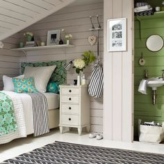 Clever use of space in cottage and also great color and pattern mix