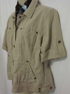Coldwater Creek Womens 12 Short Sleeve Top Jacket Linen Blend Tan Metal Hardware