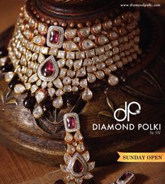 Diamond Polki by SSJ Polki wedding necklace set with rubies #indian #jewellery #kundan #traditional #ethnic #uncut #rubies