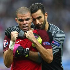 Pepe declared man of the match celebrates with Rui Patricio clicked during UEFA Euro Cup 2016 finals Europa League, Uefa Champions League, Uefa Euro 2016, Man Of The Match, Bicycle Race, Cristiano Ronaldo, Victorious, Finals, Death