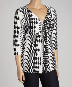 Look at this #zulilyfind! Black & White Geo V-Neck Top - Plus #zulilyfinds