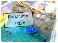 bac sensoriel la plage, la mer, activité sensorielle, enfant, bateau