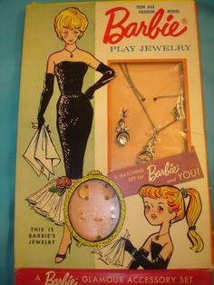 1962 Vintage Barbie doll & Child size jewelry Set Cleinman In original…
