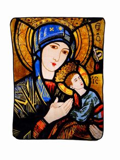 Classic Madonna and child stained glass imagery adorns this soft hi-pile oversized throw blanket.  The classic imagery of Madonna and Child, inspired by the original iconic image by artist Duccio di Buoninsegna, graces our soft and delicate oversized throw.