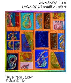 Art quilt by Sara Kelly Fabric Postcards, Fruit Art, Fiber Art, Fundraising, Auction, Quilts, Embroidery, Quilting Ideas, Abstract