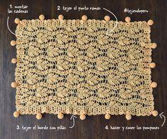 Bella manta en punto ramas con borde de piñas y pompones tejida a crochet!