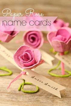 DIY Paper Roses: Escort Cards. Perfect for a spring/summer wedding.  #diy #paperroses #escortcards