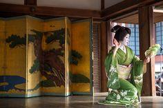 Oiran & Geisha   The dancing geiko Umeshizu. How elegant she looks!...