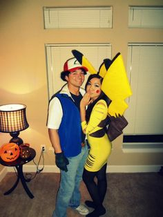 halloween couple homemade costumes pikachu and ash - Pikachu Halloween Costume Women