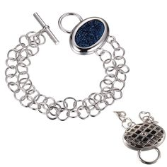 7.5 in. Sparkling Deep Blue Drusy Bracelet – ELLE Time & Jewelry