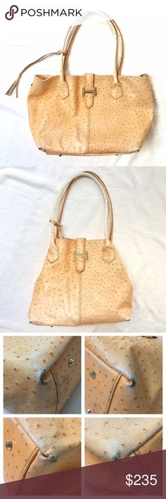 Courage b genuine ostrich skin bag This bag is pre loved. All four corners show damage. There are some pen marks inside. This bag is very high quality and feels as such. In my opinion, it still has some life left! Courage b Bags Shoulder Bags