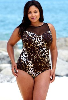 c0adfa880661f Longitude Maneater Mesh High Neck Swimsuit Plus Size Swimsuits