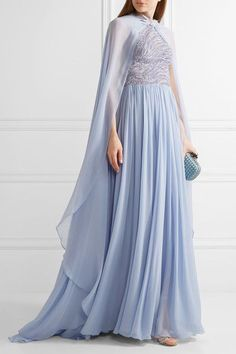 Zuhair Murad - Embellished Silk-blend Tulle And Georgette Gown - Lilac - IT46