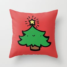 Emily McGaughey | Society6  Super cute tree pillow for Christmas! Illustration by me, pillow available on my society6.