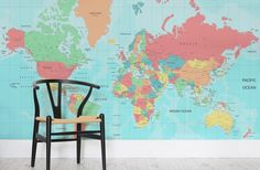 Our Multicolored World Map Wall Mural is a superbly detailed and abundantly…