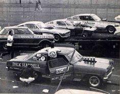 Awesome photo of match race cars of Dick Harrell, Doug's Headers, Hubert Platt, unknown Corvette, and the Kingfish. Funny Car Drag Racing, Nhra Drag Racing, Sports Car Racing, Sport Cars, Funny Cars, Vintage Racing, Vintage Cars, Rat Rods, Vintage Mustang