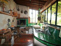 Straw-bale summer kitchen.