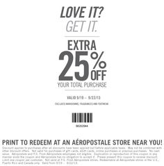 Pinned September 19th: 25% off at #Aeropostale & P.S., or online via promo code 25OFF (09/22) #coupon via The Coupons App