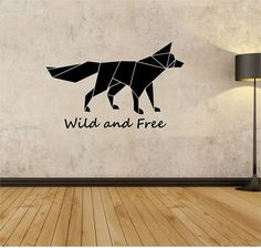 Origami Fox Wall Decal Wild And Free Quote Sticker Art Decor Bedroom Design Mural Animals Living Room