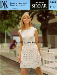 Vintage Crochet Dress Pattern PDF 088 Dress from WonkyZebra on Etsy, $3.00