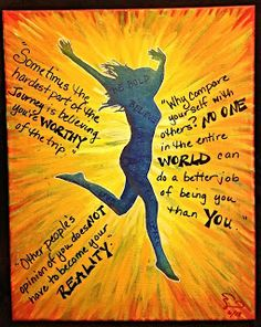 mixed media art, mixed media canvas, acrylic on canvas, inspirational quote on canvas, girl jumping on canvas