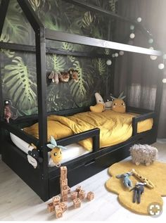 The Most Creative Kids Rooms Ideas (You'll Love with Is your child's room long overdo for a smart makeover? It's time to say bye bye to drab walls and misplaced shoes and hello to a space that invites play Baby Bedroom, Baby Boy Rooms, Nursery Room, Bedroom Art, Child's Room, Forest Bedroom, Baby Beds, Kids Bedroom Wallpaper, Bedroom Colors