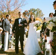 Outdoor wedding with Pews. Pew rentals for outdoor wedding