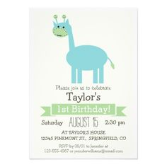 Baby Blue and Green Giraffe Kid's Birthday Party Cards