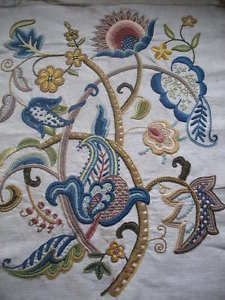 Vintage Jacobean crewel work embroidery c1930s embroidered