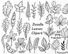 Hand gezeichnet Doodle Blätter Clipart, Blätter silhouette, PNG, EPS, AI, Vektor, Laub ClipArt, für persönlichen und kommerziellen Gebrauch