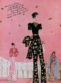 Chanel Designs | fashion illustration by Christian Berard, Vogue (1937) — love the one in the middle, minus the jewelry