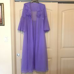96ea24cd9dd976 Beautiful Vintage 60s See Through Kawaii Purple Violet Lilac Sheer Chiffon  Dressing Gown by Merle Norman. Depop