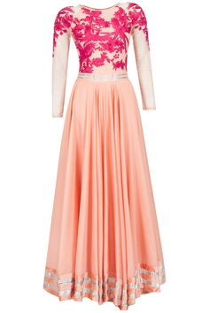 Peach and fuschia embroidered anarkali kurta set