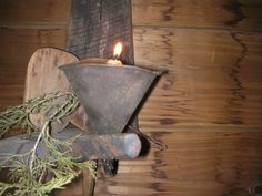 PRIMITIVE MAKE DO FUNNEL WITH CANDLE...ON EBAY NOW