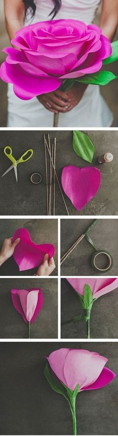 DIY: Giant Paper Rose Flower. How to make giant paper flowers. (It's like Alice in Wonderland) Craft tutorial