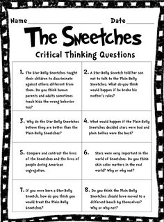 "FREE - Short & Extended Response Activities for ""The Sneetches"" by Dr. Seuss. Deals with issues of race, racism, discrimination, segregation, injustice, equality and more..."