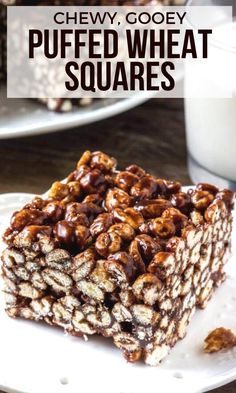 Classic puffed wheat squares are chewy a little gooey and perfectly chocolate-y. Just like you remember from childhood from Just So Tasty Puffed Wheat Cake, Puffed Wheat Squares, Cereal Treats, No Bake Treats, Rice Krispie Treats, Cereal Recipes, Snack Recipes, Dessert Recipes, Desserts