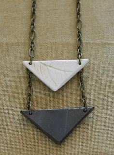 Porcelain Triangles Pendant Necklace by FieldAndFeather on Etsy, $38.00