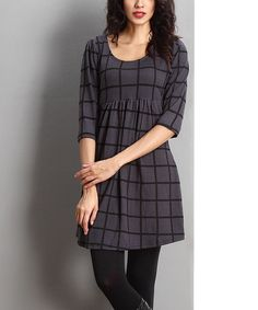 Look what I found on #zulily! Charcoal Window Pane Empire-Waist Tunic #zulilyfinds