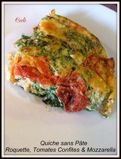 Quiche sans Pâte : Roquette, Tomates Confites & Mozzarella