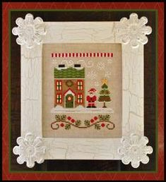 Country Cottage Needleworks Gingerbread House 4 - Gingerbread Village Model stitched on 32 Ct. Lambswool linen with DMC, Classic Colorworks floss and Weeks D Cross Stitch Samplers, Cross Stitch Kits, Cross Stitch Charts, Cross Stitching, Cross Stitch Embroidery, Cross Stitch Patterns, Embroidery Patterns, Country Cottage Needleworks, Little House Needleworks