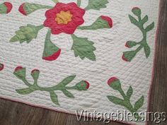 Antique c1850 Red & Green Christmas QUILT Not Perfect, but WOW!