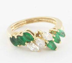 Vintage 14 Karat Yellow Gold Diamond Emerald Ring Fine Estate Jewelry Pre-Owned $595