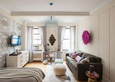 The small space design experts at HGTV.com share photos of a college student's NYC studio apartment designed by Lindsay Boswell and Ali Levin.