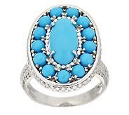 Sleeping Beauty Turquoise Cluster Design Sterl. Diamond Cut Ring - J295717